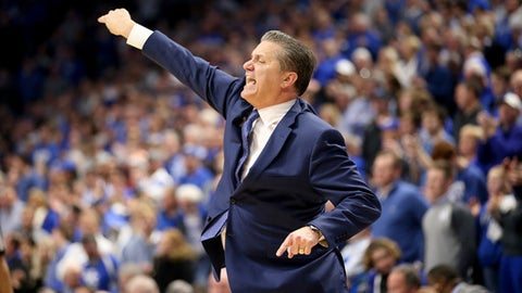 LEXINGTON, KY - DECEMBER 16:  John Calipari the head coach of the Kentucky Wildcats gives instructions to his team in the game against the Virginia Tech Hokies at Rupp Arena on December 16, 2017 in Lexington, Kentucky.  (Photo by Andy Lyons/Getty Images)