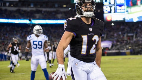 Baltimore Ravens wide receiver Michael Campanaro (12) celebrates his touchdown during the first half of an NFL football game against Indianapolis Colts in Baltimore, Saturday, Dec 23, 2017. (AP Photo/Nick Wass)