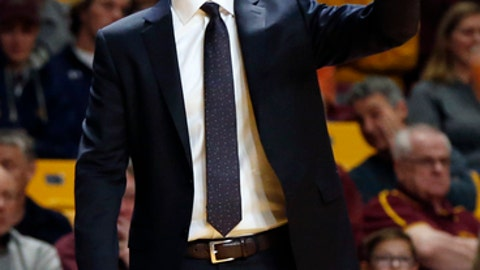 Minnesota head coach Richard Pitino directs his players in the second half of an NCAA college basketball game against Florida Atlantic Saturday Dec. 23 2017 in Minneapolis
