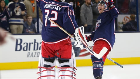Columbus Blue Jackets' Sergei Bobrovsky, left, of Russia, and Cam Atkinson celebrate their win over the Philadelphia Flyers after the shootout period of an NHL hockey game Saturday, Dec. 23, 2017, in Columbus, Ohio. The Blue Jackets beat the Flyers 2-1 in a shootout. (AP Photo/Jay LaPrete)