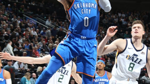SALT LAKE CITY, UT - DECEMBER 23: Russell Westbrook #0 of the Oklahoma City Thunder goes to the basket against the Utah Jazz on December 23, 2017 at vivint.SmartHome Arena in Salt Lake City, Utah. NOTE TO USER: User expressly acknowledges and agrees that, by downloading and or using this Photograph, User is consenting to the terms and conditions of the Getty Images License Agreement. Mandatory Copyright Notice: Copyright 2017 NBAE (Photo by Melissa Majchrzak/NBAE via Getty Images)
