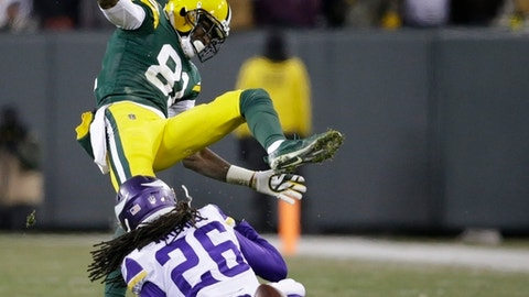Minnesota Vikings' Trae Waynes breaks up a pass intended for Green Bay Packers' Geronimo Allison during the second half of an NFL football game Saturday, Dec. 23, 2017, in Green Bay, Wis. (AP Photo/Jeffrey Phelps)