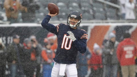 Chicago Bears quarterback Mitchell Trubisky (10) throws during warmups before an NFL football game against the Cleveland Browns in Chicago, Sunday, Dec. 24, 2017. (AP Photo/Nam Y. Huh)