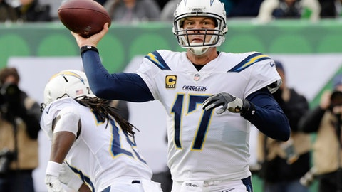 Los Angeles Chargers quarterback Philip Rivers (17) throws a pass during the first half of an NFL football game against the New York Jets, Sunday, Dec. 24, 2017, in East Rutherford, N.J. (AP Photo/Bill Kostroun)