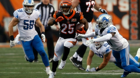 Cincinnati Bengals running back Giovani Bernard (25) rushes during the second half of an NFL football game against the Detroit Lions, Sunday, Dec. 24, 2017, in Cincinnati. (AP Photo/Frank Victores)