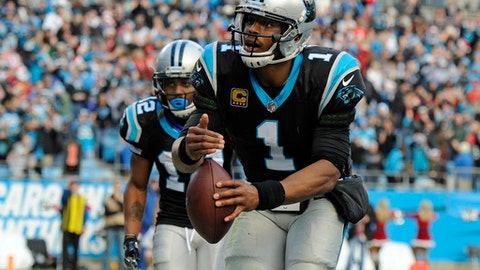Carolina Panthers' Cam Newton (1) celebrates after a touchdown against the Tampa Bay Buccaneers during the second half of an NFL football game in Charlotte, N.C., Sunday, Dec. 24, 2017. (AP Photo/Mike McCarn)