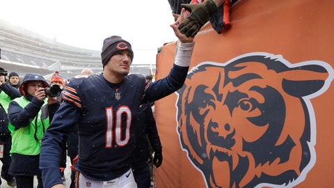 Chicago Bears quarterback Mitchell Trubisky (10) shakes hands with fans after beating the Cleveland Browns 20-3 in an NFL football game in Chicago, Sunday, Dec. 24, 2017. (AP Photo/Charles Rex Arbogast)