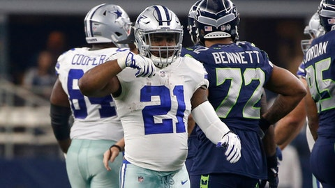 Dallas Cowboys' Ezekiel Elliott (21) celebrates running the ball for a first down in the first half of an NFL football game against the Seattle Seahawks on Sunday, Dec. 24, 2017, in Arlington, Texas. (AP Photo/Ron Jenkins)