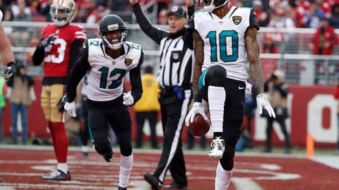 Jacksonville Jaguars wide receiver Jaelen Strong celebrates after scoring a touchdown against the San Francisco 49ers during the first half of an NFL football game in Santa Clara, Calif., Sunday, Dec. 24, 2017. (AP Photo/Tony Avelar)