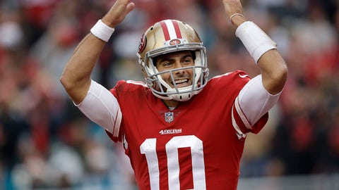 San Francisco 49ers quarterback Jimmy Garoppolo (10) celebrates during the second half of an NFL football game against the Jacksonville Jaguars in Santa Clara, Calif., Sunday, Dec. 24, 2017. (AP Photo/Marcio Jose Sanchez)