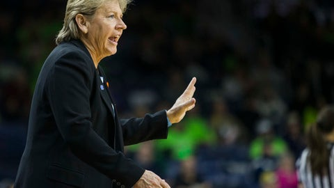 FILE- In this Jan. 10, 2016, file photo, North Carolina head coach Sylvia Hatchell yells to players during the first half of an NCAA college basketball game in South Bend, Ind. Hatchell joined the 1,000-win club on Dec. 19, 2017. (AP Photo/Robert Franklin, File)