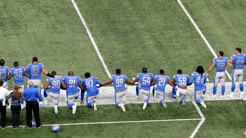 FILE - In this Sept. 24, 2017, file photo, Detroit Lions players take a knee during the national anthem before an NFL football game against the Atlanta Falcons in Detroit. President Donald Trump's feud with the NFL about players kneeling during the national anthem is the runaway winner for the top sports story of 2017 in balloting by AP members and editors. (AP Photo/Paul Sancya, File)