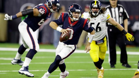 Houston Texans quarterback Taylor Heinicke (8) scrambles out of the pocket during the second half of an NFL football game against the Pittsburgh Steelers Monday, Dec. 25, 2017, in Houston. (AP Photo/Michael Wyke)
