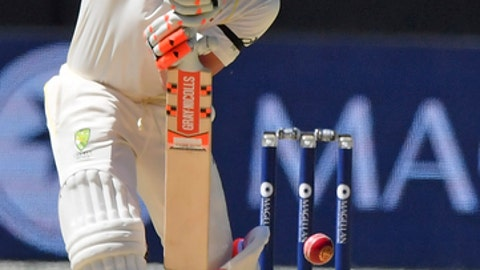 Australia's David Warner bats against England during their Ashes cricket test match in Melbourne, Australia, Tuesday, Dec. 26, 2017. (AP Photo/Andy Brownbill)