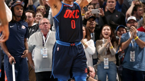 OKLAHOMA CITY, OK- DECEMBER 25:  Russell Westbrook #0 of the Oklahoma City Thunder celebrates after beating the Houston Rockets on December 25, 2017 at Chesapeake Energy Arena in Oklahoma City, Oklahoma. NOTE TO USER: User expressly acknowledges and agrees that, by downloading and or using this photograph, User is consenting to the terms and conditions of the Getty Images License Agreement. Mandatory Copyright Notice: Copyright 2017 NBAE (Photo by Layne Murdoch Sr./NBAE via Getty Images)