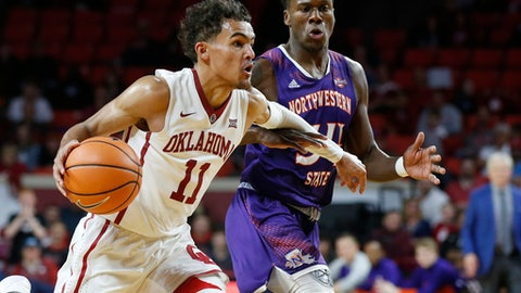 FILE - In this Dec. 19, 2017, file photo, Oklahoma guard Trae Young (11) drives past Northwestern State forward Brandon Hutton, right, in the second half of an NCAA college basketball game in Norman, Okla. The Big 12 is poised for a big week as conferences dive deep into league play. It has a national-best six teams in this week's AP Top 25 along with two games featuring a pair of ranked teams, including No. 12 Oklahoma's visit to 10th-ranked surprise TCU as the top game on the schedule for ranked teams in the week ahead. (AP Photo/Sue Ogrocki, File)
