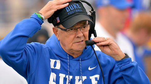 DURHAM, NC - NOVEMBER 18:  Head coach Dadid Cutcliffe of the Duke Blue Devils watches his team play during their game against the Georgia Tech Yellow Jackets at Wallace Wade Stadium on November 18, 2017 in Durham, North Carolina.  (Photo by Grant Halverson/Getty Images)