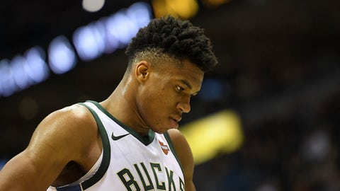 MILWAUKEE, WI - DECEMBER 22:  Giannis Antetokounmpo #34 of the Milwaukee Bucks walks backcourt during a game during a game against the Charlotte Hornets at the Bradley Center on December 22, 2017 in Milwaukee, Wisconsin.  NOTE TO USER: User expressly acknowledges and agrees that, by downloading and or using this photograph, User is consenting to the terms and conditions of the Getty Images License Agreement.  (Photo by Stacy Revere/Getty Images)