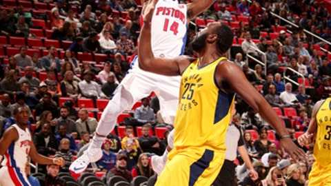 DETROIT, MI - DECEMBER 26: Ish Smith #14 of the Detroit Pistons shoots the ball during the game against the Indiana Pacers on December 26, 2017 at Little Caesars Arena in Detroit, Michigan. NOTE TO USER: User expressly acknowledges and agrees that, by downloading and/or using this photograph, User is consenting to the terms and conditions of the Getty Images License Agreement. Mandatory Copyright Notice: Copyright 2017 NBAE (Photo by Brian Sevald/NBAE via Getty Images)