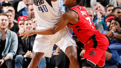 DALLAS, TX - DECEMBER 26: Harrison Barnes #40 of the Dallas Mavericks looks to pass the ball against the Toronto Raptors on December 26, 2017 at the American Airlines Center in Dallas, Texas. NOTE TO USER: User expressly acknowledges and agrees that, by downloading and or using this photograph, User is consenting to the terms and conditions of the Getty Images License Agreement. Mandatory Copyright Notice: Copyright 2017 NBAE (Photo by Glenn James/NBAE via Getty Images)