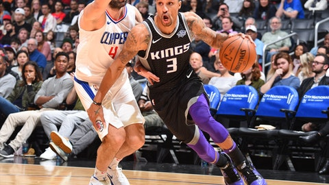 LOS ANGELES, CA - DECEMBER 26: George Hill #3 of the Sacramento Kings handles the ball against the LA Clippers on December 26, 2017 at STAPLES Center in Los Angeles, California. NOTE TO USER: User expressly acknowledges and agrees that, by downloading and/or using this Photograph, user is consenting to the terms and conditions of the Getty Images License Agreement. Mandatory Copyright Notice: Copyright 2017 NBAE (Photo by Andrew D. Bernstein/NBAE via Getty Images)