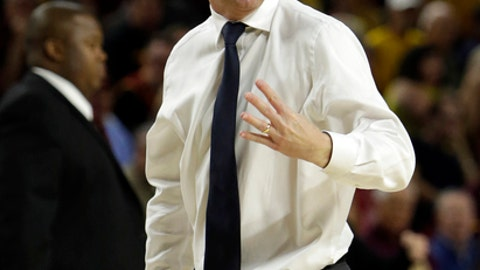 File-This Dec. 17, 2017, file photo shows Arizona State head coach Bobby Hurley reacting to a foul call in the first half during an NCAA college basketball game against Vanderbilt,  in Tempe, Ariz.  Arizona is home to the two biggest surprises in the Pac-12. No. 3 Arizona State was picked to finish sixth in the conference, but has turned out to be one of the nation's best teams. No. 17 Arizona dropped out of the AP Top 25 from No. 2 after an 0-3 trip to the Bahamas before moving back into the poll. (AP Photo/Rick Scuteri, File)