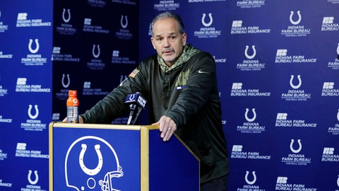 Indianapolis Colts head coach Chuck Pagano responds to a question during a news conference before an NFL football practice, Wednesday, Dec. 27, 2017, in Indianapolis. (AP Photo/Darron Cummings)