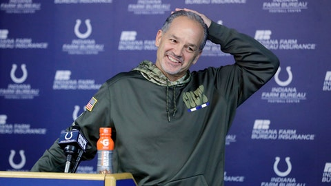 Indianapolis Colts head coach Chuck Pagano smiles during a news conference before an NFL football practice, Wednesday, Dec. 27, 2017, in Indianapolis. (AP Photo/Darron Cummings)