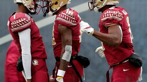 Florida State wide receiver Auden Tate (18) celebrates his touchdown with quarterback James Blackman (1) and tight end Tre' McKitty, right, in the first half of the Independence Bowl NCAA college football game against Southern Mississippi in Shreveport, La., Wednesday, Dec. 27, 2017. (AP Photo/Gerald Herbert)
