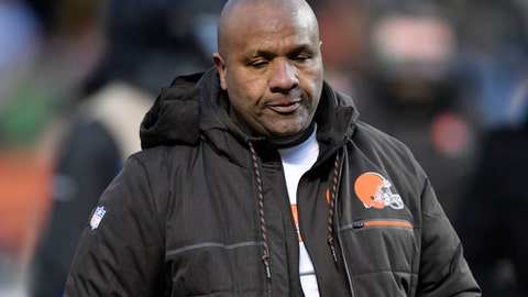 File-This Dec. 10, 2017, file photo shows Cleveland Browns head coach Hue Jackson walking off the field after an NFL football game against the Green Bay Packers in Cleveland.  (AP Photo/David Richard, File)