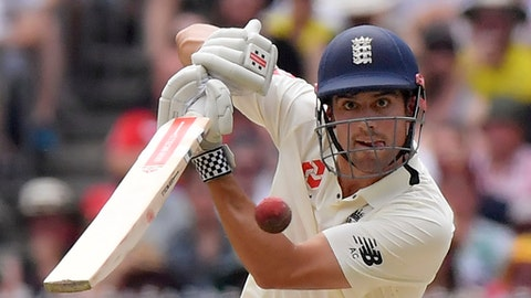 England's Alastair Cook bats against Australia during the third day of their Ashes cricket test match in Melbourne, Australia, Thursday, Dec. 28, 2017. (AP Photo/Andy Brownbill)