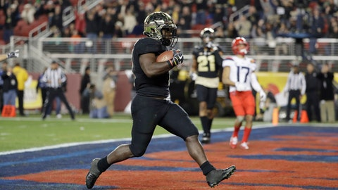Purdue running back D.J. Knox runs in for a touchdown against Arizona during the first half of the Foster Farms Bowl NCAA college football game Wednesday, Dec. 27, 2017, in Santa Clara, Calif. (AP Photo/Marcio Jose Sanchez)