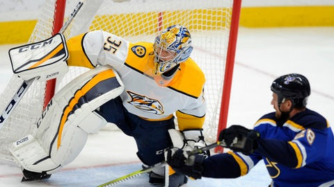 Nashville Predators goalie Pikka Rinne (35), of Finland, guards against St. Louis Blues' Kyle Brodziak (28) during the third period of an NHL hockey game, Wednesday, Dec. 27, 2017, in St. Louis. (AP Photo/Bill Boyce)