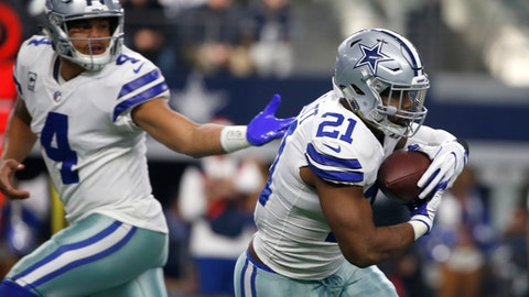 """FILE - In this Dec. 24, 2017, file photo, Dallas Cowboys quarterback Dak Prescott (4) hands the ball off to running back Ezekiel Elliott (21) during the first half of an NFL football game in Arlington, Texas. The Cowboys play the Philadelphia Eagles this week. Elliott needs 120 yards rushing to reach 1,000 in only 10 games. The Eagles have the NFL's top-ranked run defense and haven't allowed a 100-yard rusher since Matt Jones ran for 135 yards in Week 6 last year. """"If it happens, it happens,"""" Elliott said. """"It's not like you can go out there and force that, but it definitely would be nice."""" (AP Photo/Ron Jenkins, File)"""