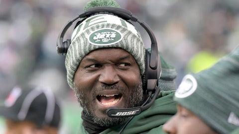 "File- This Dec. 24, 2017, file photo shows New York Jets head coach Todd Bowles reacting during the second half of an NFL football game in East Rutherford, N.J.  Bowles said he isn't worried about having to find ways to motivate his team this week, even with its postseason prospects gone. ""We've got some prideful guys and we fight and we understand where we are but that doesn't mean we don't try to go out and win every ball game and this week will be no different for us,"" he said. (AP Photo/Bill Kostroun, File)"