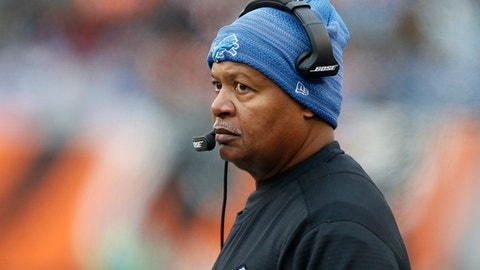 File- This Dec. 24, 2017, file photo shows Detroit Lions head coach Jim Caldwell watching during the first half of an NFL football game against the Cincinnati Bengals in Cincinnati.  The Packers (7-8) have fallen short of the playoffs for the first time since 2008, a year before Matthews was drafted. Detroit (8-7) won't be in the postseason either, and the big question now is whether the Lions will stick with Caldwell for another year. Detroit made the playoffs last season but lost its final three regular-season games and its postseason opener. This year, the Lions were in decent shape at 6-4 before consecutive losses against Minnesota and Baltimore left them playing catch-up.(AP Photo/Gary Landers, File)