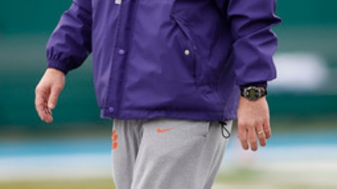 Clemson head coach Dabo Swinney watches the team during practice Thursday, Dec. 28, 2017, for the upcoming Sugar Bowl, which will be one of the College Football Playoff semi-final games, against Alabama, in New Orleans, (AP Photo/Tyler Kaufman)