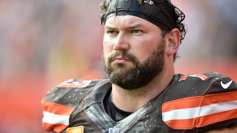 File- This Oct. 22, 2017, file photo shows Cleveland Browns offensive tackle Joe Thomas  walking on the sideline during an NFL football game against the Tennessee Titans, in Cleveland. Thomas says Cleveland's coaching situation will have no bearing on his decision whether to keep playing. Thomas played in just seven games before tearing his left triceps on Oct. 22 against Tennessee and undergoing season-ending surgery. Before he got hurt, Thomas, a 10-time Pro Bowler, never missed a snap in his NFL career, playing 10,363 consecutive offensive snaps. The 33-year-old put off his decision on continuing his career until the offseason.  (AP Photo/David Richard, File)