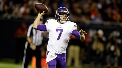 FILE - In this Oct. 9, 2017, file photo, Minnesota Vikings quarterback Case Keenum (7) throws a pass during the second half of an NFL football game against the Chicago Bears in Chicago. The Bears face yet another meaningless final regular season game at Minnesota. Except this time the Vikings have a lot to play for, with pursuit of a first-round bye for the playoffs. (AP Photo/Darron Cummings, File)