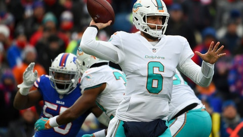 FILE - In this Dec. 17, 2017, file photo, Miami Dolphins quarterback Jay Cutler (6) passes the ball against the Buffalo Bills during the first half of an NFL football game in Orchard Park, N.Y. A game against the Buffalo Bills on Sunday, Dec. 31, 2017, might be the career finale for 34-year-old Cutler, who ended a brief retirement in August and said he has not decided whether he wants to play in 2018. (AP Photo/Rich Barnes, File)