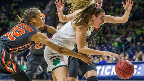 Notre Dame's Marina Mabrey, center, drives between Syracuse's MirandaDrummond (32) and DignaStrautmane during the first half of an NCAA college basketball game Thursday, Dec. 28, 2017, in South Bend, Ind. (AP Photo/Robert Franklin)