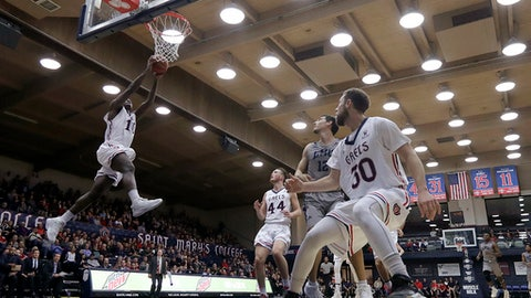 Saint Mary's (Cal.) forward Elijah Thomas (10) dunks against Loyola Marymount during the second half of an NCAA college basketball game in Moraga, Calif., Thursday, Dec. 28, 2017. (AP Photo/Jeff Chiu)