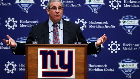 New York Giants general manager Dave Gettleman speaks after being introduced during a news conference, Friday, Dec. 29, 2017, in East Rutherford, N.J. (AP Photo/Adam Hunger)