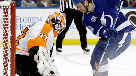 Tampa Bay Lightning center Brayden Point (21) tries to stuff the puck past Philadelphia Flyers goaltender Brian Elliott (37) during the second period of an NHL hockey game Friday, Dec. 29, 2017, in Tampa, Fla. Elliott made the save. (AP Photo/Chris O'Meara)