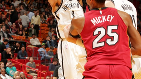 MIAMI, FL - DECEMBER 29: Spencer Dinwiddie #8 of the Brooklyn Nets shoots the ball during the game against the Miami Heat at the American Airlines Arena on December 29, 2017 in Miami Florida. NOTE TO USER: User expressly acknowledges and agrees that, by downloading and or using this photograph, User is consenting to the terms and conditions of the Getty Images License Agreement. Mandatory Copyright Notice: Copyright 2017 NBAE (Photo by Oscar Baldizon/NBAE via Getty Images)