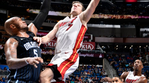 ORLANDO, FL - DECEMBER 30: Goran Dragic #7 of the Miami Heat shoots the ball against the Orlando Magic on December 30, 2017 at Amway Center in Orlando, Florida. NOTE TO USER: User expressly acknowledges and agrees that, by downloading and or using this photograph, User is consenting to the terms and conditions of the Getty Images License Agreement. Mandatory Copyright Notice: Copyright 2017 NBAE (Photo by Fernando Medina/NBAE via Getty Images)