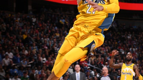 DENVER, CO - DECEMBER 30:  Jamal Murray #27 of the Denver Nuggets goes to the basket against the Philadelphia 76erson December 30, 2017 at the Pepsi Center in Denver, Colorado. NOTE TO USER: User expressly acknowledges and agrees that, by downloading and/or using this Photograph, user is consenting to the terms and conditions of the Getty Images License Agreement. Mandatory Copyright Notice: Copyright 2017 NBAE (Photo by Garrett Ellwood/NBAE via Getty Images)