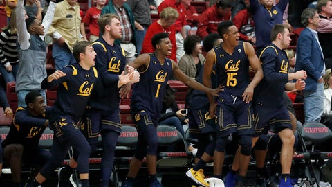 California players celebrate a 77-74 victory against Stanford in an NCAA college basketball game Saturday, Dec. 30, 2017, in Stanford, Calif. (AP Photo/Tony Avelar)