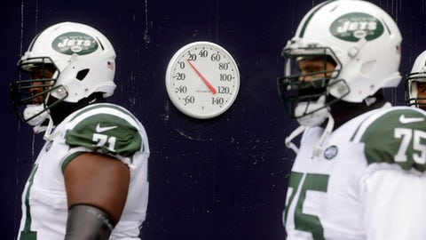 A thermometer in the runway displays a temperature in the teens as New York Jets tackle Ben Ijalana (71) and defensive end Xavier Cooper (75) take the field for an NFL football game against the New England Patriots, Sunday, Dec. 31, 2017, in Foxborough, Mass. (AP Photo/Steven Senne)
