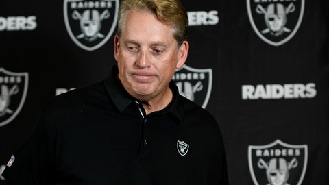 Oakland Raiders head coach Jack Del Rio reacts during a news conference after an NFL football game against the Los Angeles Chargers Sunday Dec. 31 2017 in Carson Calif